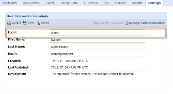 default administrative user password