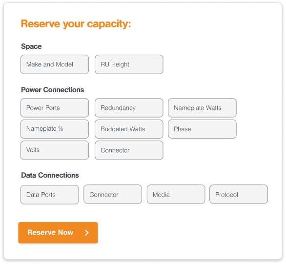Reserve Data Center Space, Power & Connectivity