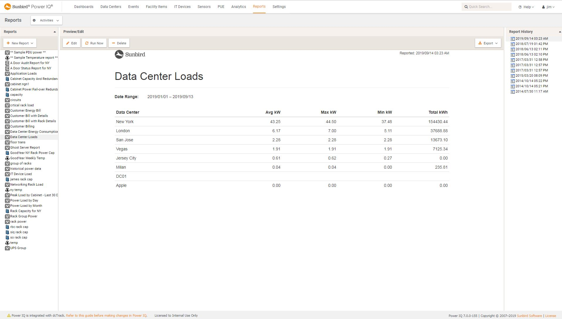 Screenshot of Data Center Energy and Loads