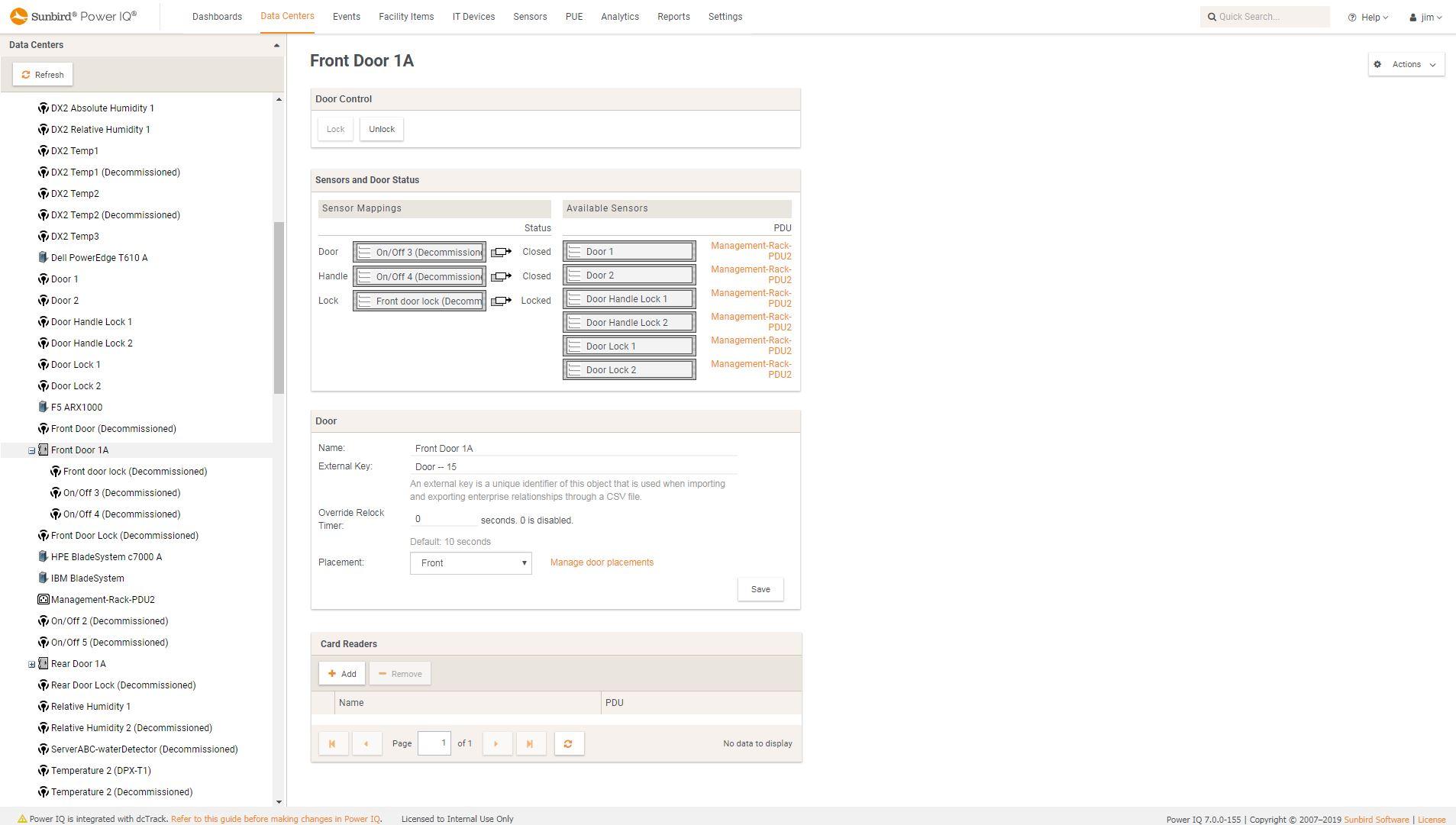 Screenshot of Door Status and Electronic Lock Control