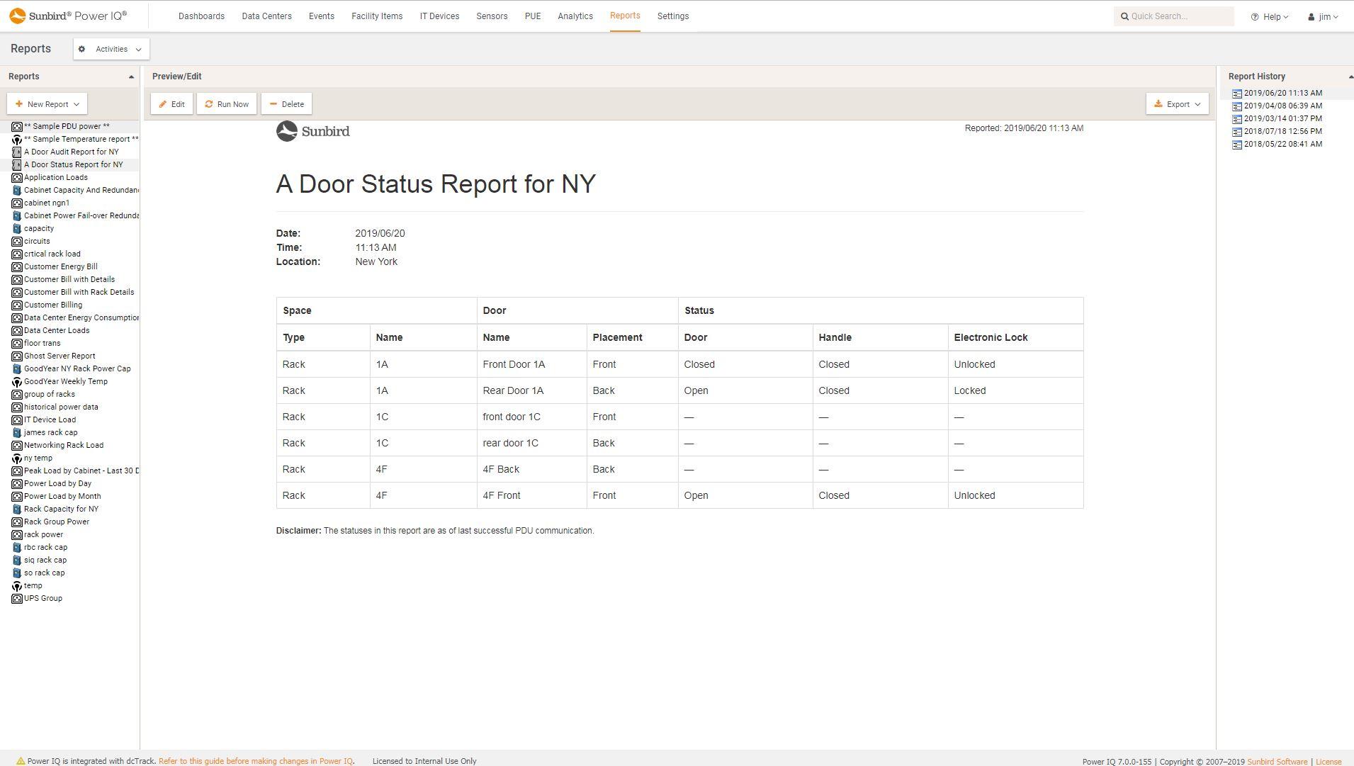 Screenshot of Electronic Door Status Report