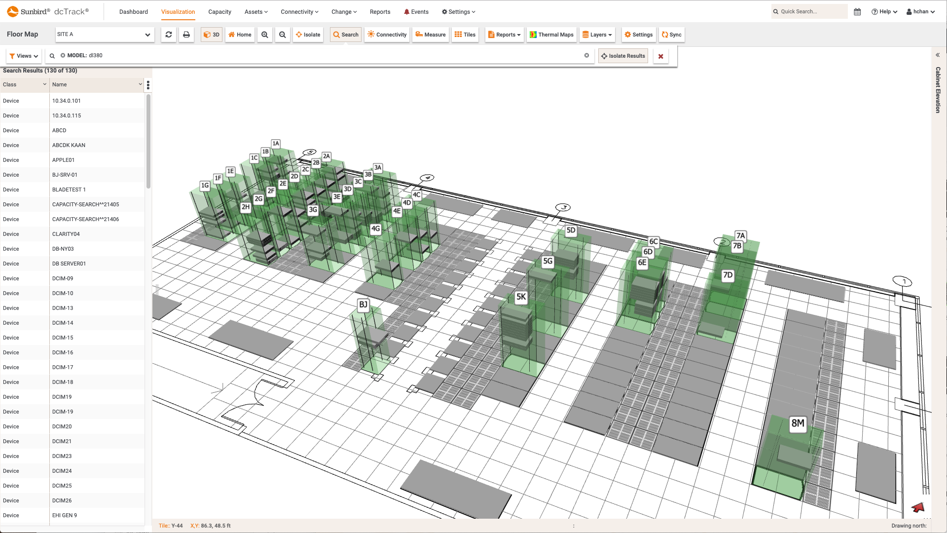 Screenshot of Filtered 3D Search of All Server Models