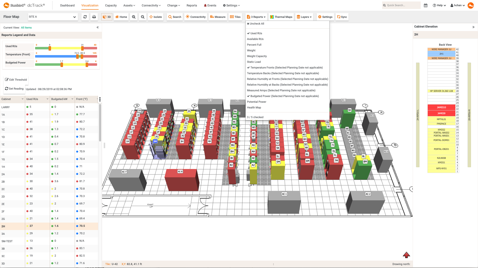Screenshot of Multiple Floor Map Reports
