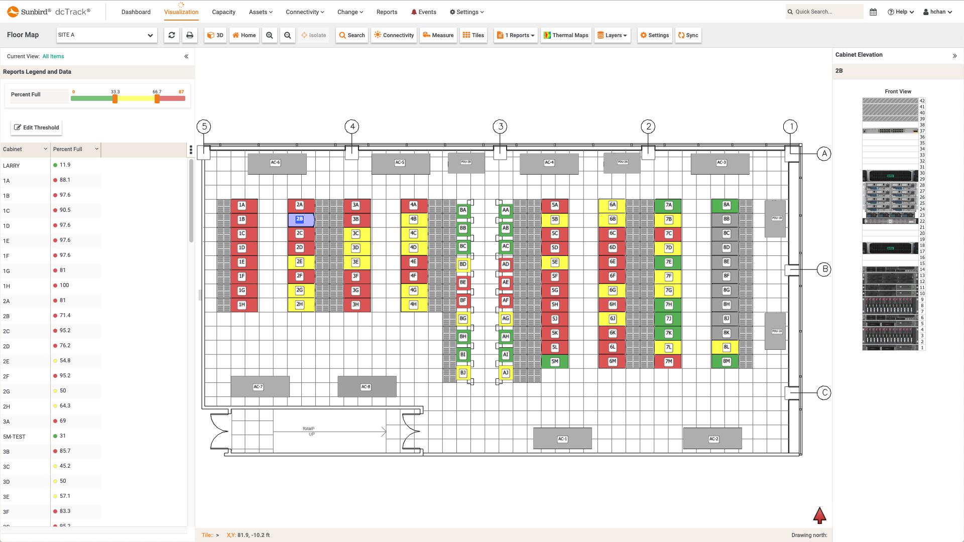 Screenshot of Percent Full per Cabinet Floor Map Report