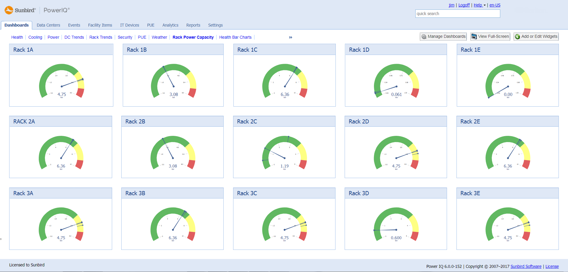 Screenshot of Rack Power Capacity Dashboard