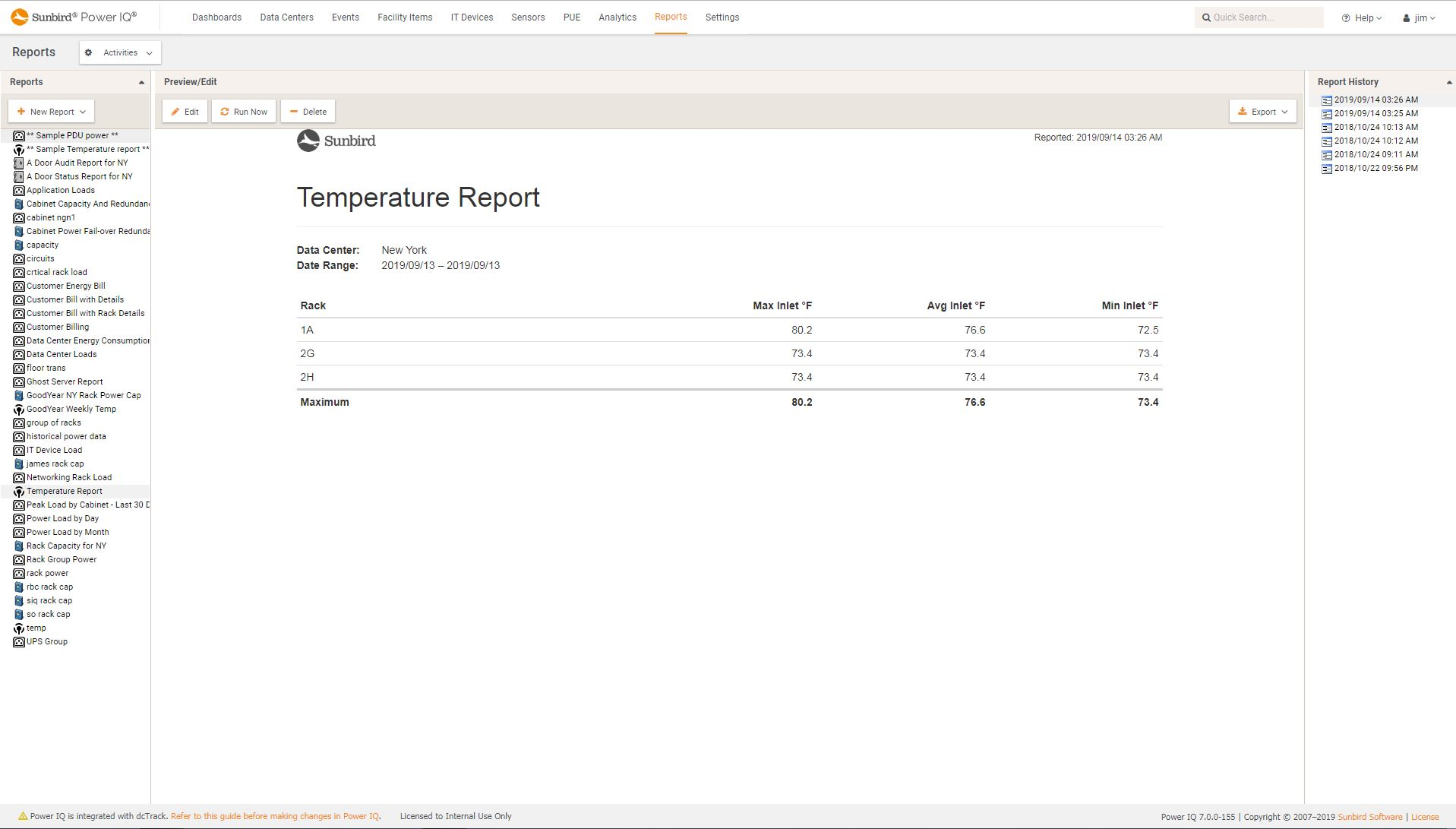Screenshot of Rack Temperature Report