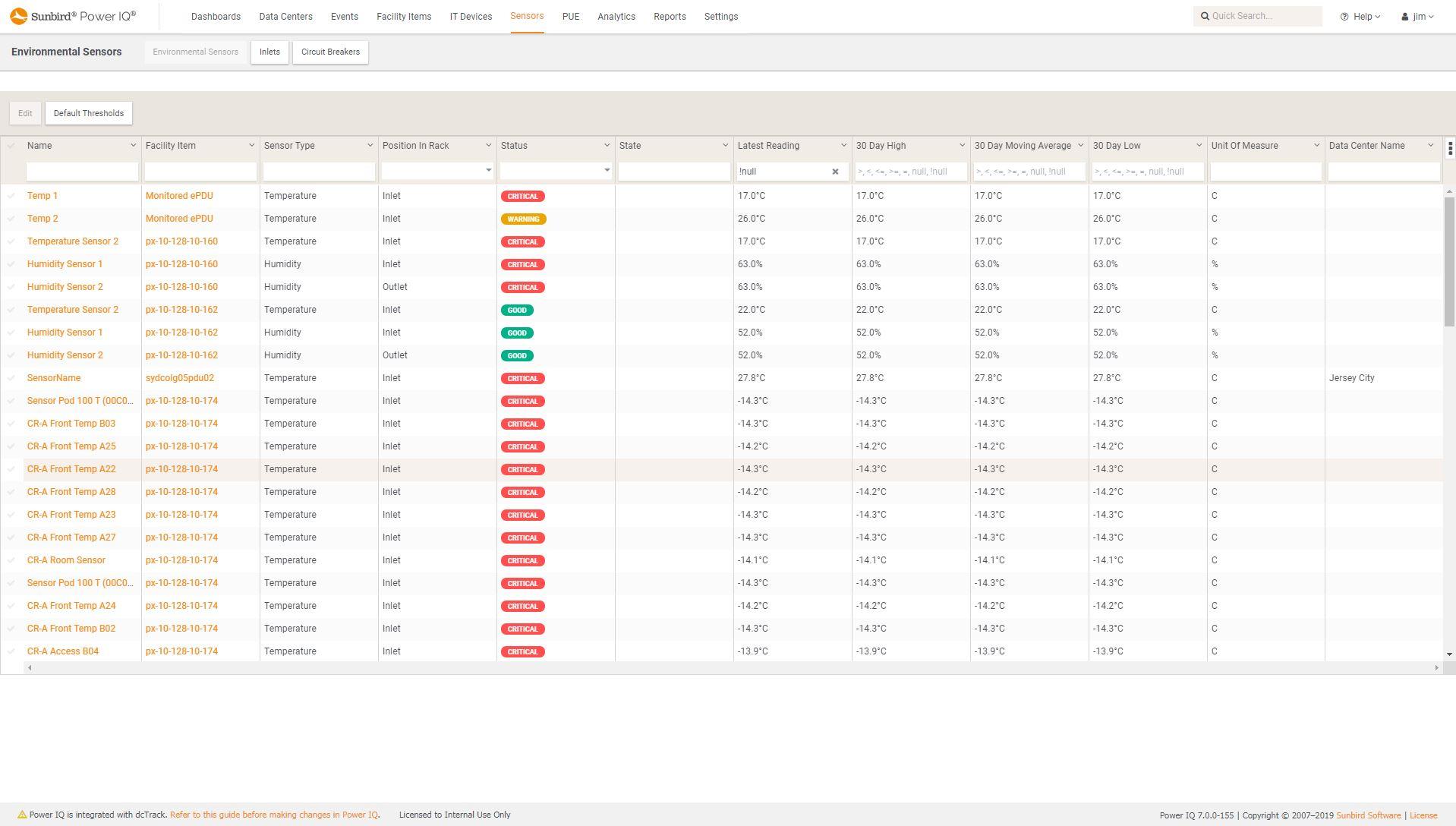 Screenshot of Sensor List
