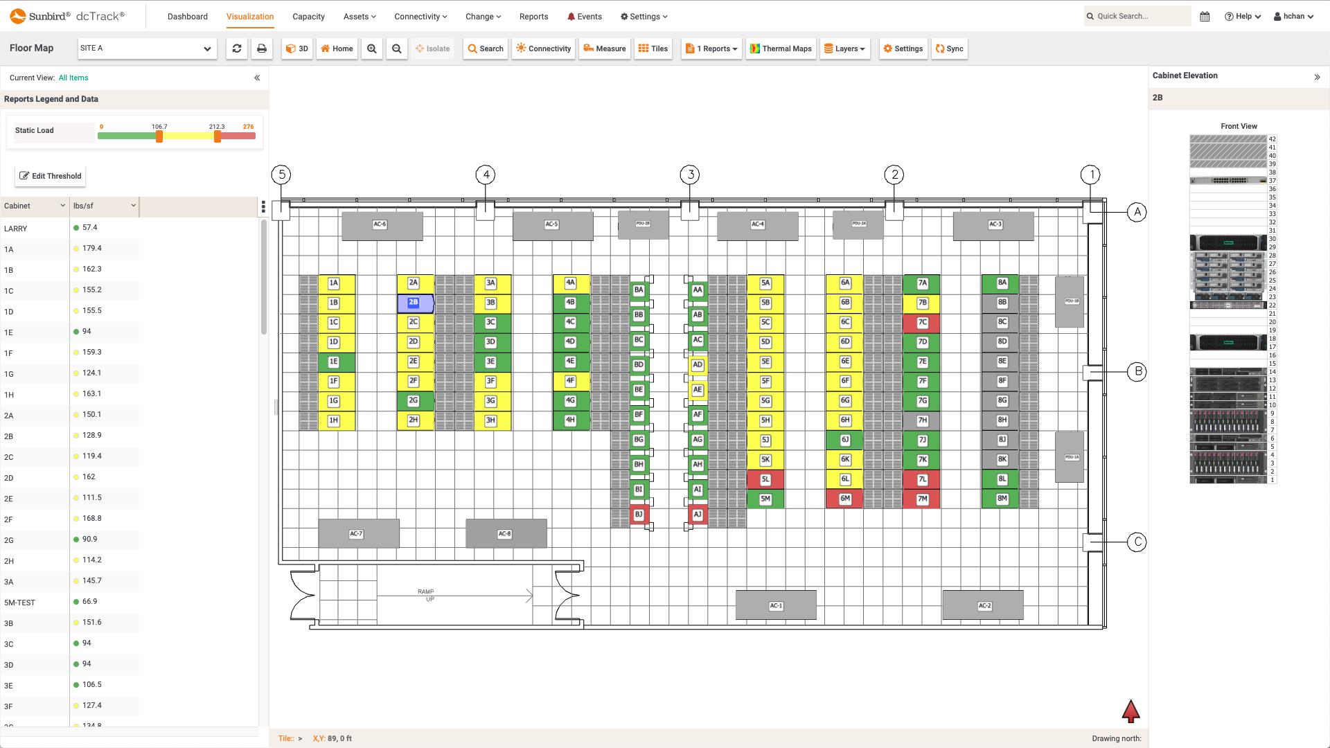 Screenshot of Static Load per Cabinet Floor Map Report