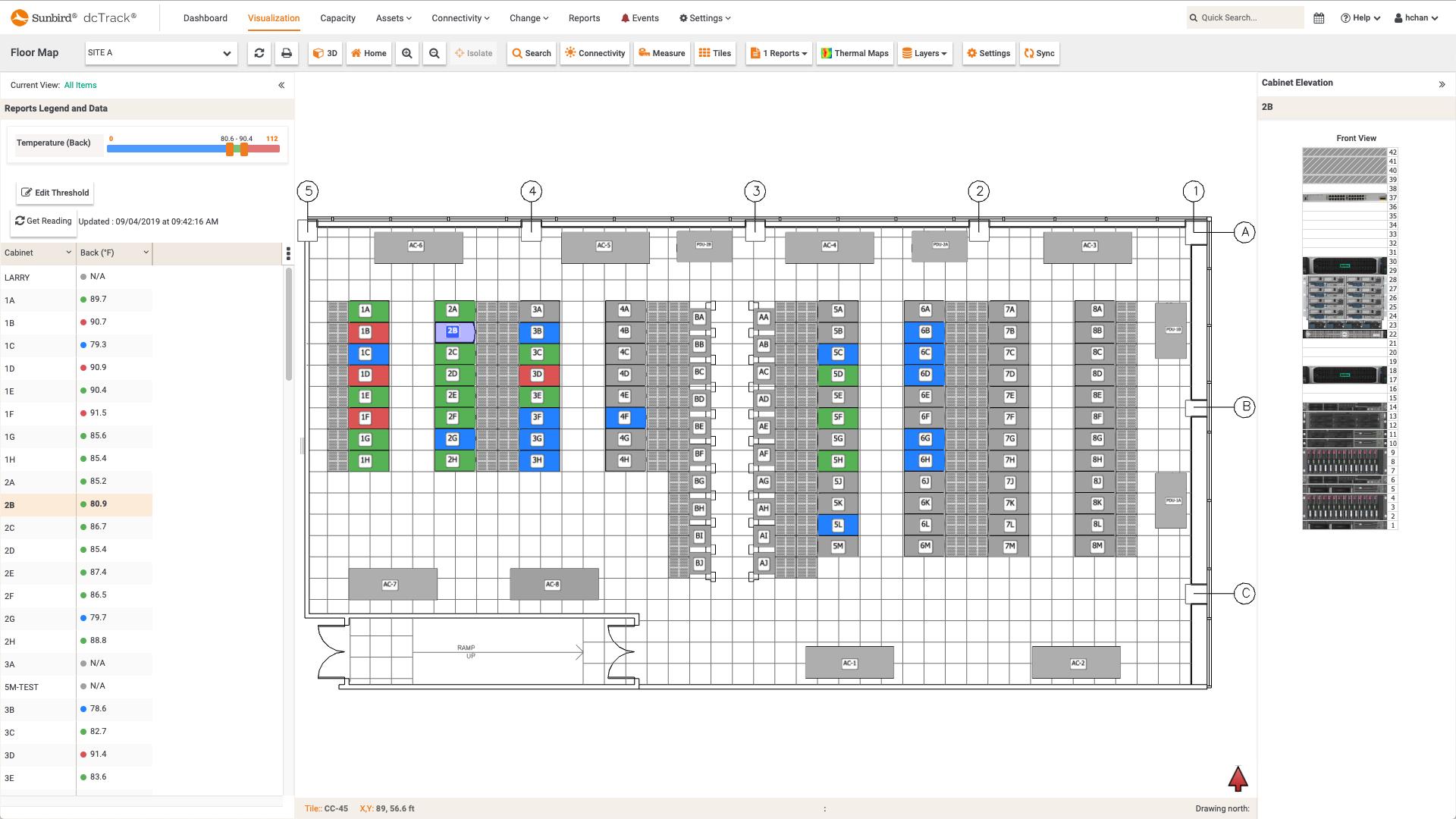 Screenshot of Max Temperature per Cabinet (Rear) Floor Map Report