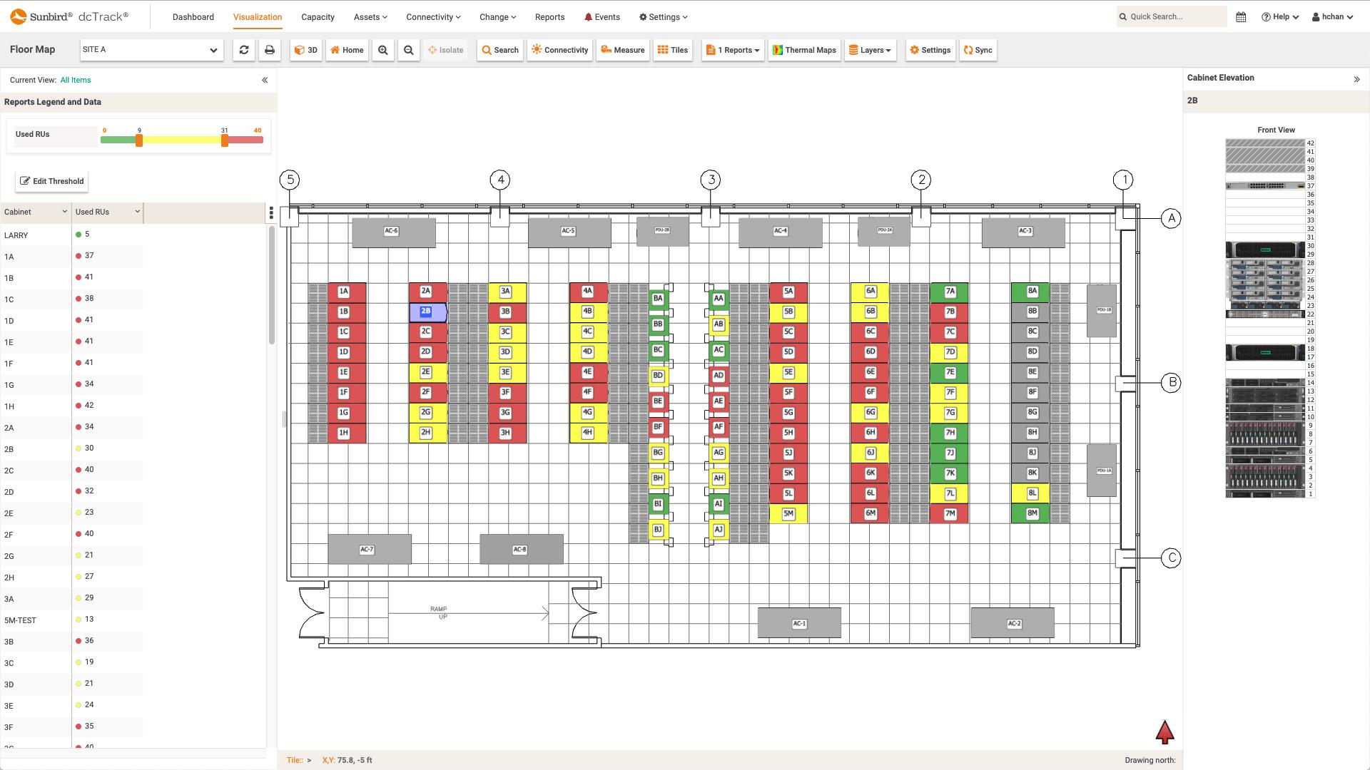 Screenshot of Used RUs per Cabinet Floor Map Report