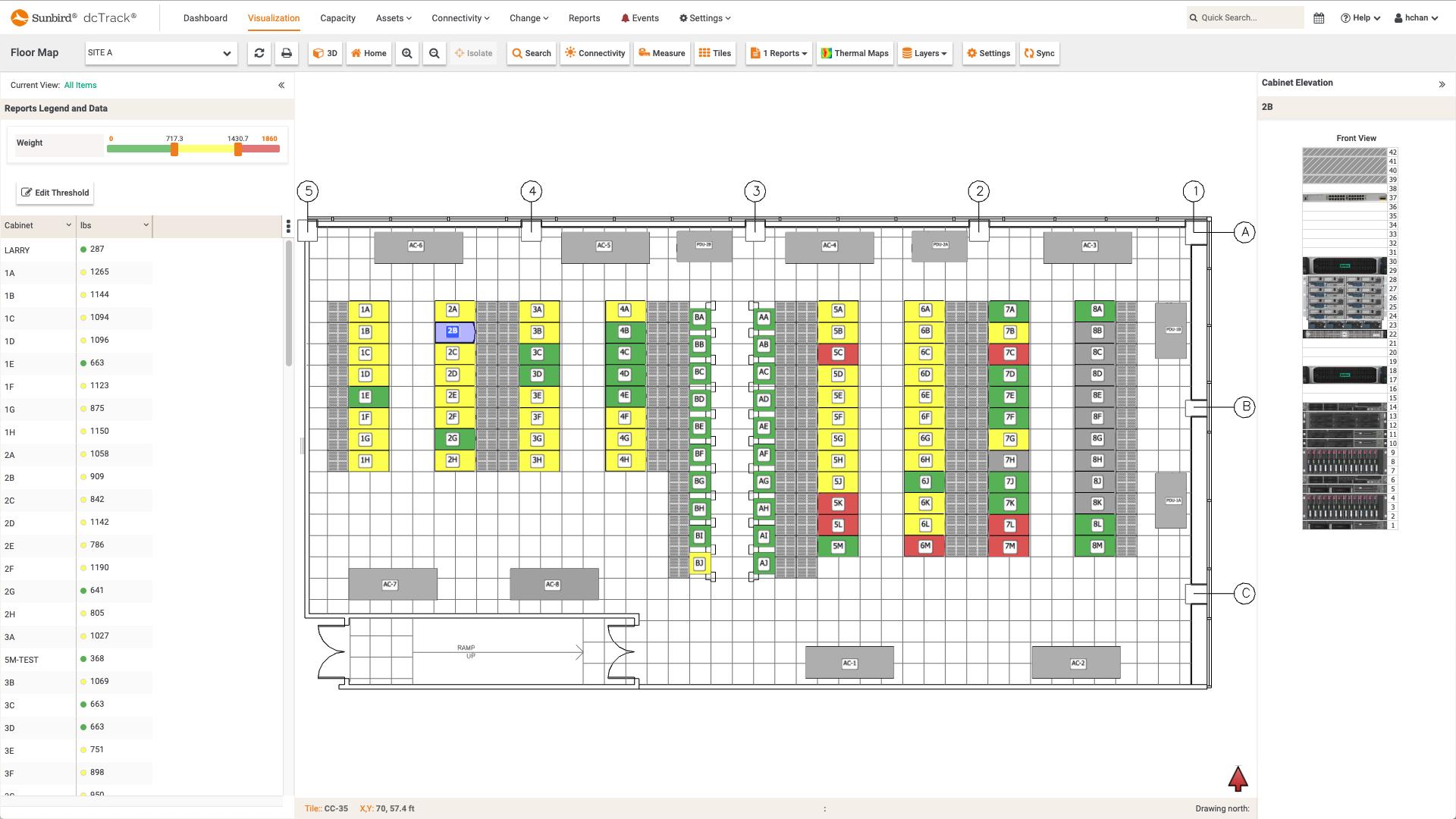 Screenshot of Weight per Cabinet Floor Map Report