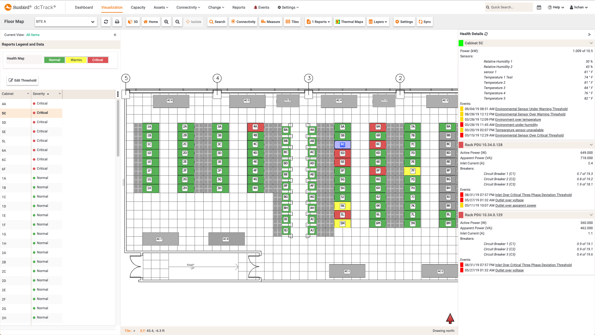 Screenshot of dcTrack Cabinet Health Floor Map Report