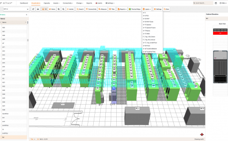 Screenshot of Cable Trays on the Data Center Floor Map