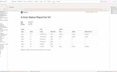 Screenshot of Electronic Door Status Report