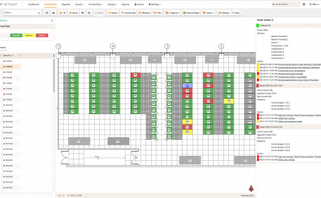 Screenshot of dcTrack Cabinet Health Floor Map Report